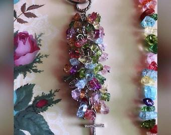 Handmade Cross Keychain made with beads