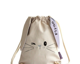 Bunny Bag Silver, Personalised Bag, Personalized Bag, Bunny Backpack