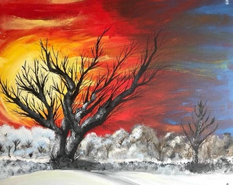 Winter Sunrise Painting