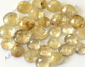 Gemstone Cabochon Quartz Rutilated Gold Golden 6mm Rose Cut FOR ONE