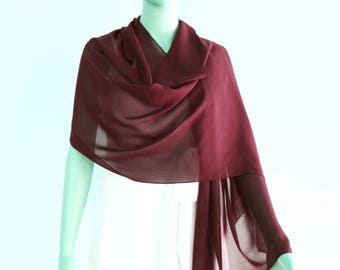 Wine Long Scarf.Wine Wrap Scarf. Wine Chiffon Shawl.