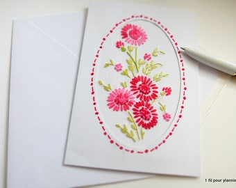 Greeting card embroidered-mothers - embroidered card - mother's day