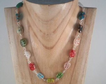 Millefiori Necklace - multicoloured Necklace - Glass and Silver Necklace - Handmade in the UK - Cruise necklace