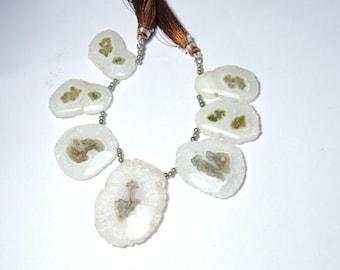 7 Pieces Very Beautiful Natural White Solar Quartz Druzy Slice Beads Size 47X36-35X22 MM