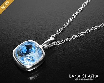 Light Sapphire Crystal Necklace, Swarovski Sapphire Square Rhinestone Necklace, Light Blue Silver Pendant, Wedding Bridal Bridesmaid Jewelry