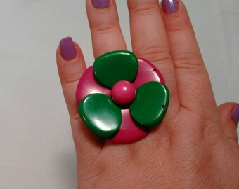 Handmade Big Green and Pink Metal Flower Adjustable Ring