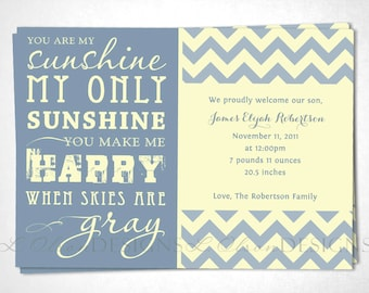 "Chevron ""You Are My Sunshine"" Baby Announcement - Blue Cream - DIY printable"