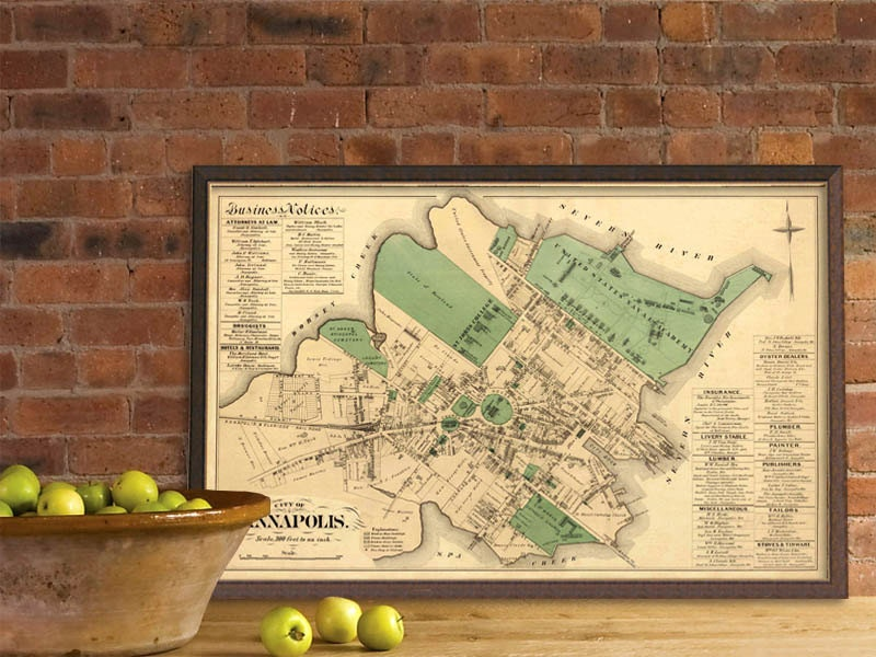 Old Map Of Annapolis Maryland Old City Plan Restored - Anápolis map