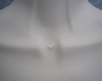 Cristal Simple Floating Dainty 6mm Crystal Illusion Necklace any length silver gold or rose gold plated clasp 43SW6N