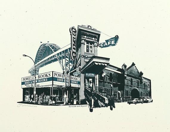 Portland Art // Print // Wall art // Oregon Art // Collage // Cityscape // Burnside & Beyond - 8.5x11,  and 11x14