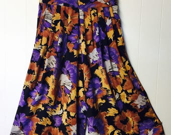 80's High Waisted Floral Wide Leg Culottes
