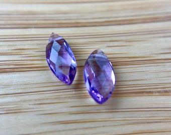 Delicate Minimal Purple Amethyst Marquis Teardrops Briolette Beads- Great for Earrings!!