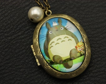 Totoro Necklace, Totoro locket, 3040M