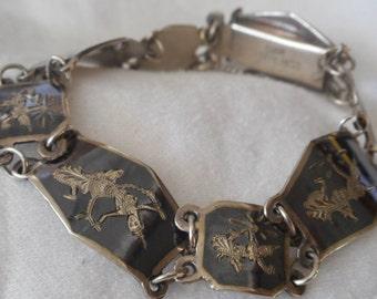 VINTAGE Siam Sterling Silver Link Costume Jewelry Bracelet