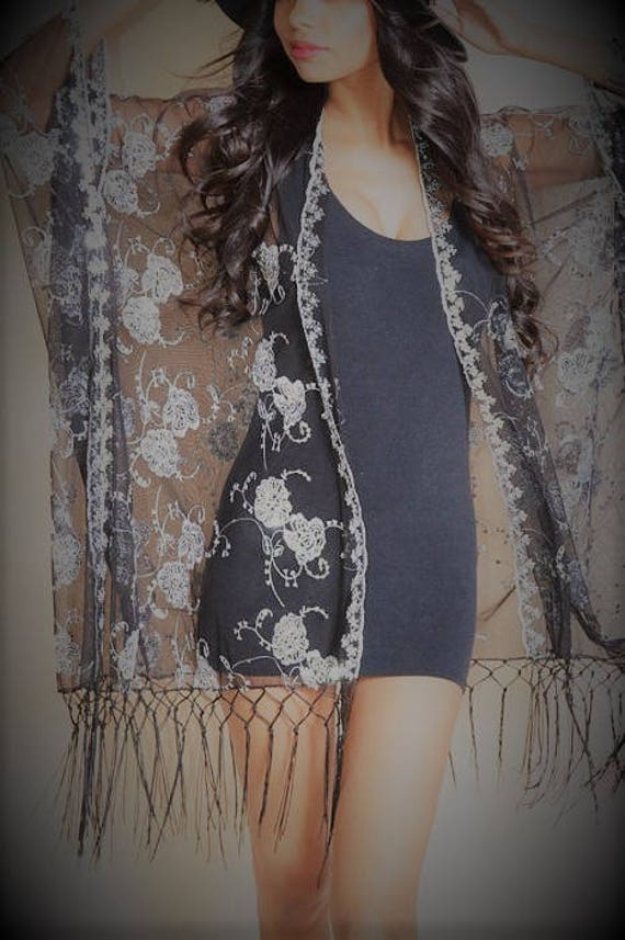Black Lace and Metallic Silver Thread Kimono