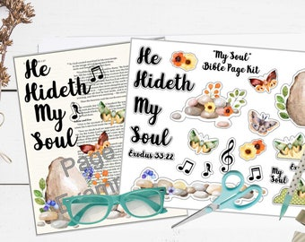 """Printable Bible Journaling Page Kit - """"My Soul"""" - Complete kit for Bible Pages or Journals. Fits all Journaling Bibles."""