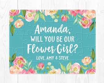 Will You Be My Flower Girl Proposal Gift Flower Girl Puzzle Proposal Will You Be Our Flower Girl Puzzle Flower Girl Proposal Blue Peach Aqua
