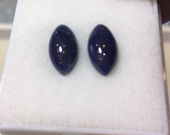 Natural Blue Sapphire 6 to 11 MM Round Cabochon PAIRS . Price per piece. Heated. No Treatment/Filling. Deep Color.