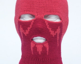 Knitted Pink Ski Mask Tuque Convertible Active