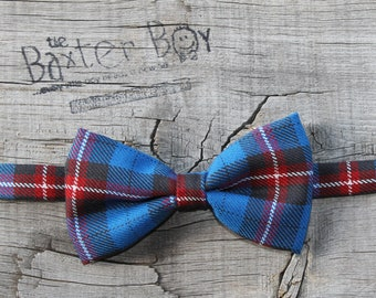 READY TO SHIP --- Blue, Red, and Black plaid little boy bow tie - photo prop, wedding, ring bearer, easter