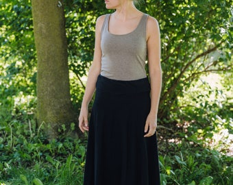 Womens Jersey Knit Semi Circle Maxi Skirt - Handmade to Order - Made in the USA -Iris