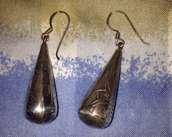 Sterling Silver etched hanging earrings