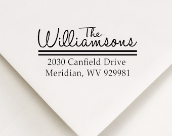 Custom Address Stamp  - Handwritten sans serif font types - Perfect Holiday Stocking Stuffer The Williamsons Design