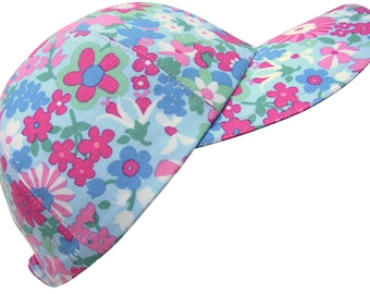 Deja Bloom - Pink Turquoise Jade Green & Blue Flowers Floral Print Ladies Womens Cotton Cloth Fashion Baseball Ball Cap Hat by Calico Caps®