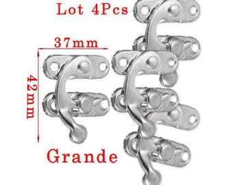Set four pieces large silver toned latch closures 4, 2 x 3, 7cm in 2 parts