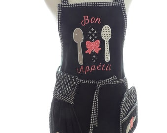 Black Denim Apron and Potholders and Towel Set  Applique Embroidered French Bon Apetit Spoon Design