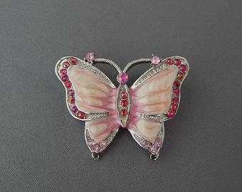 Vintage Pink Butterfly Pin Rhinestone Enamel Silver Tone, Butterfly Brooch, Summer Jewelry, Estate Jewelry