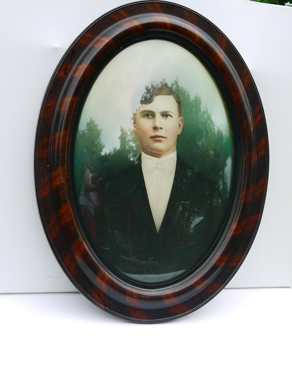 Antiguo 1920 X-Large Oval foto Pastel retrato Polaco novio José con ...