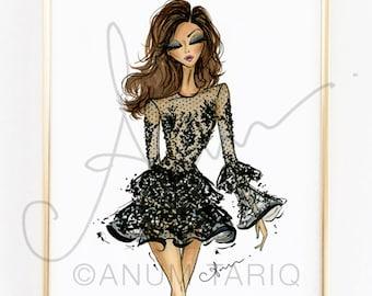 Fashion Illustration Print, Zuhair Murad Couture Fall 2016