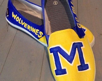 Women's University of Michigan Hand Painted Canvas Shoes