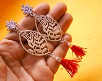 Nepali Traditional .925 Silver Plated Red Bohomeian Jhumkia Jhumki Earring SER918