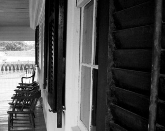 Photograph Black and White Front Porch Wood Window Shutters and Chairs in Cooperstown Upstate New York Rural Art Print Home Decor