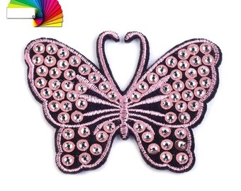 2 Iron on Patch Butterfly with Sequins