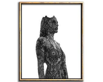 Surreal Art, Collage Art, Modern, Gothic Home Decor, Printable Art, Black Lace Woman, Figurative Art, Surrealism, Surrealist, Prints, Art