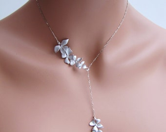 Simple chain Asymmetric lariat bridal necklace with silver orchid - Wild Orchid
