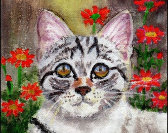Original Acrylic Art - Little Lost Kitty - Tabby, Striped Cat by Patricia Ann Rizzo