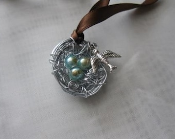 Bird Nest Necklace with Turquoise Pearls