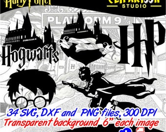 Harry Potter Silhouette, minimalist tatto, cutting file, cards, invitation, vinyl, SVG, DXF, PNG, digital clipart instant Download