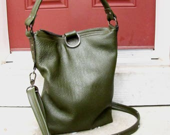 Green leather bag, Olive Green Leather Shoulder tote, Messenger bag, 3 Way fold over purse