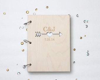 Hearts and arrows custom wood wedding guest book