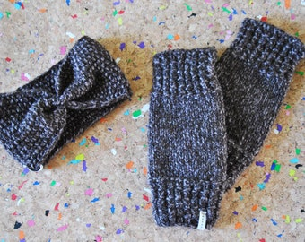 Knitting Set / Headband and Leg Warmers // Yoga Leg Warmers // Leg Warmers Knitting // Brown /