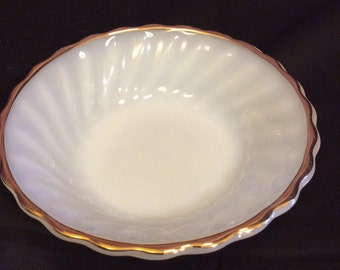 "Anchor Hocking ""Suburbia"" Oven Proof Gold Trim Bowl"