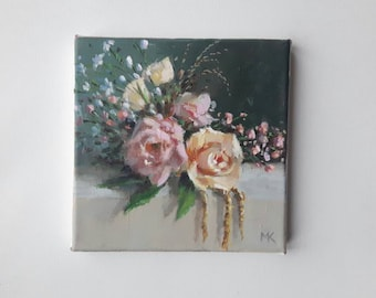 original acrylic painting, floral painting, free shipping, tiny painting, 8x8 painting, small painting, acrylics on canvas, boho art, rose