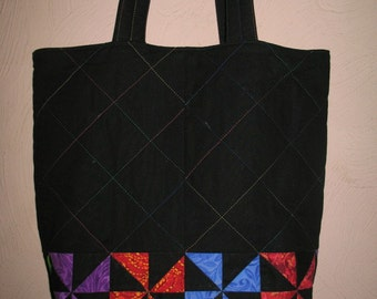 Black Tote with bright stars and stitching//Coach Bag