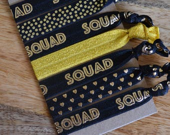 Set of Seven Squad Hair Ties Black Gold BFF Best Friends Gift Stocking Stuffer