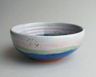 Seascape Bowl - wheel thrown, handmade terracotta pottery with sgraffito seascape illustration. OOAK. Gift.